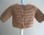 Hand crocheted baby sweater.........little brown cardigan