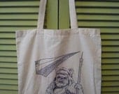Hand Drawn Ewok Cotton Tote Bag - ooak, Star Wars, sci-fi, Ewoks