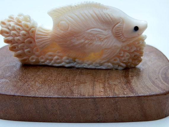 RESERVED. Walrus Ivory Carving. Fish. Very detailed. Pre-Ban.