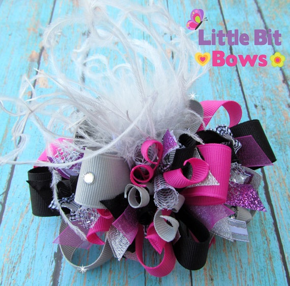 Grey, Black, and Raspbery Pink Funky Bow with Ostrich Feathers