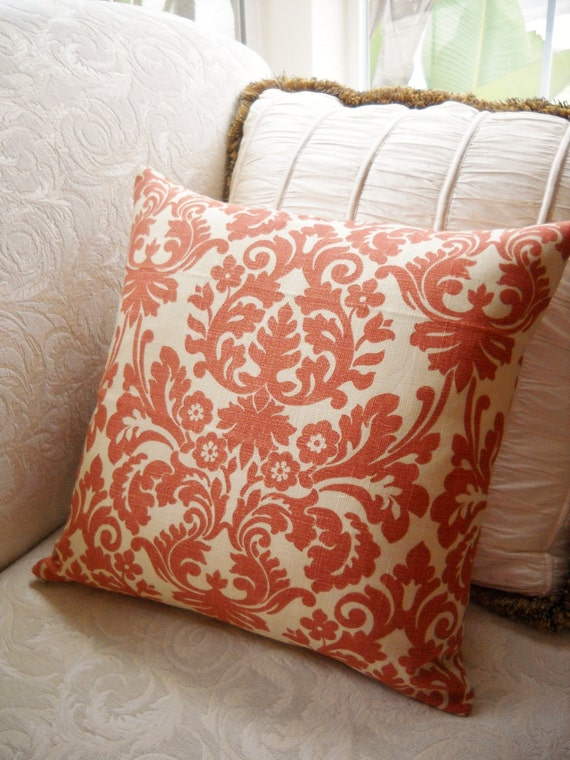 "Large Coral and Cream  Damask Print 20"" Linen Pillow Cover"