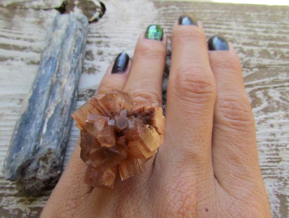 ASTEROID / Raw Aragonite Star Cluster Crystal Bold Unique Gemstone Statement Cocktail Ring Adjustable, Astral, Chakra, Spring, Fashion, Gift