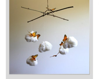 Hand Needle Felted Baby Mobile -  butterflies among the clouds