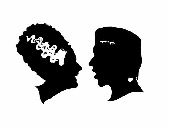 Your Silhouette - Bride of Frankenstein - Custom Halloween - Hand    Frankenstein Head Silhouette