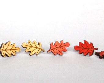 Oak Leaf Earrings- handmade laser cut