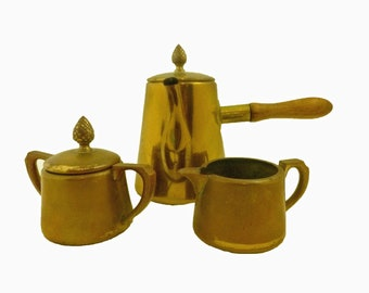 Vintage 3 piece BRASS COFFEE SET - Free Shipping