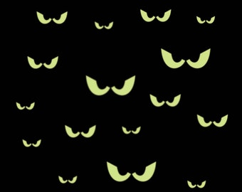 16 Spooky Eyes  Glow-in-the-Dark  removable wall decal FREE SHIPPING