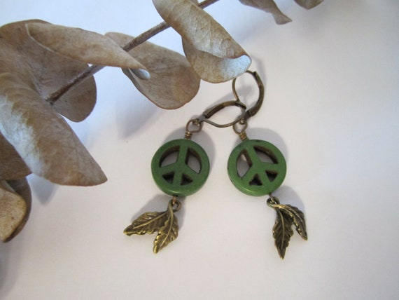 Peace Sign Earrings - Green