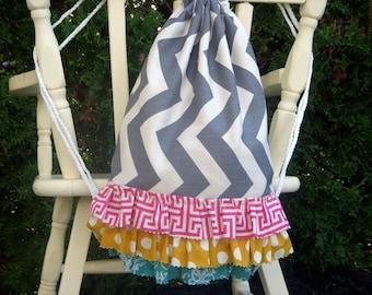 Children's Size Grey Chevron Drawstring Backpack