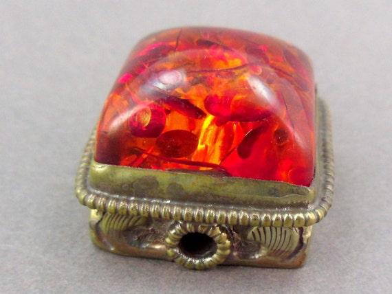 Amber Tibetan Large Brass Bead BEAUTIFUL Repousse work