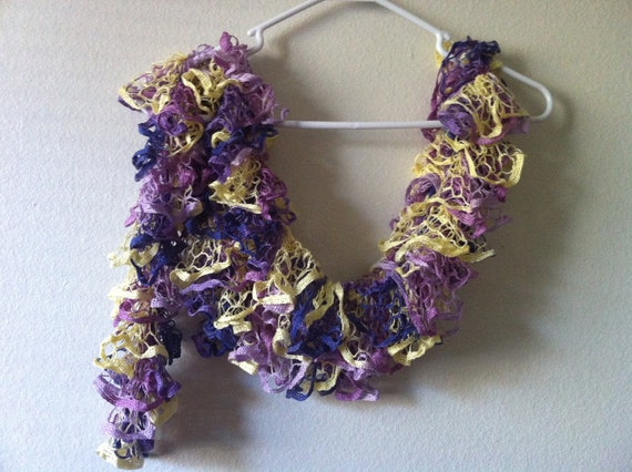 Frilly scarf, Ruffle Scarf, lace scarf, Multicolor, Usa Seller
