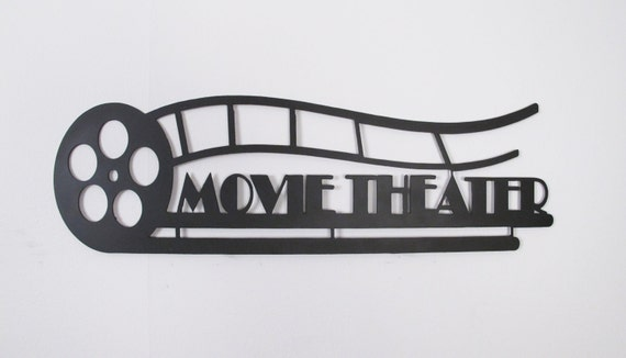 Home Theater Decor Metal Wall Art ~ Metal wall art movie theater wrought iron sign by dv studio