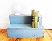 Vintage Wood Steps, Blue Old Paint, Display Shelf