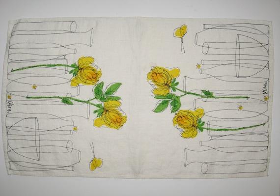 Vera Neumann Yellow Rose Modernist Linen Kitchen Tea Towel HLA Arabia Finland interest