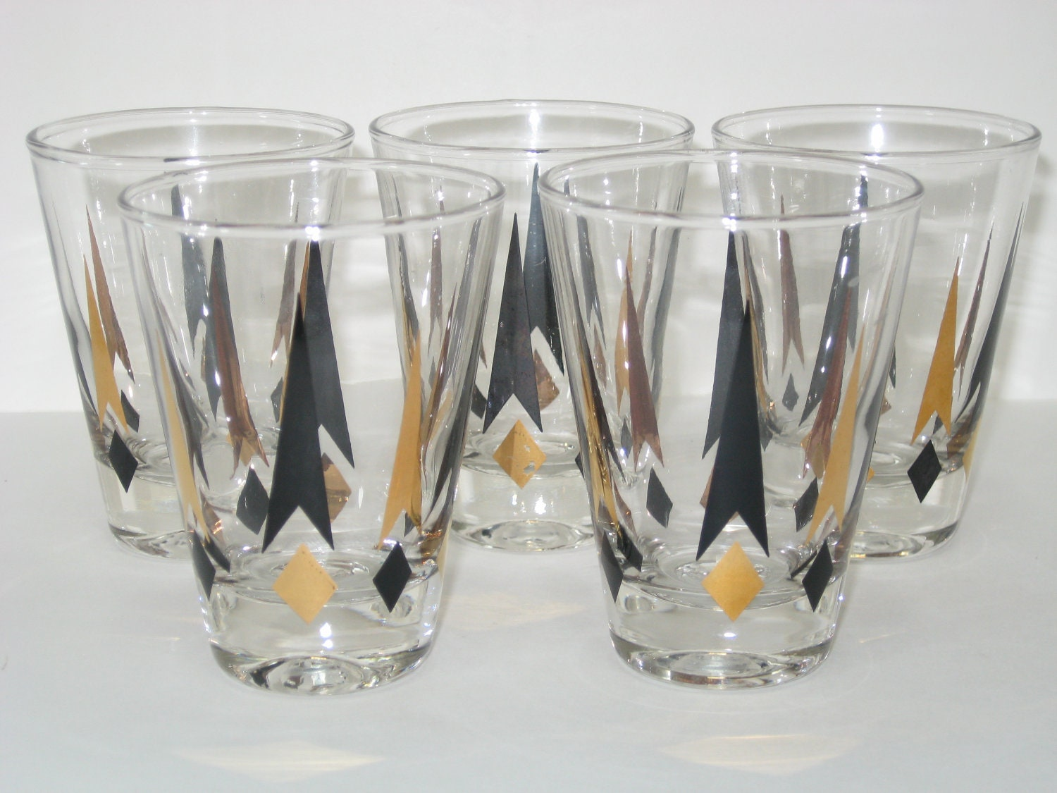 Federal glass atomic starburst gold black diamonds by modandmore - Starburst glassware ...