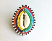 MAASAI SHIELD MINI - Cowrie Shell Wrapped Ring