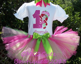 Strawberry ShortCake Birthday tutu outfit includes shirt, tutu, and hair bow-Embroidered with NAME FREE