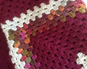 Afghan, throw, maroon, olive and green