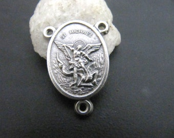 Italian Made Silver Saint MIchael Rosary Center