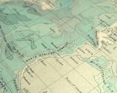 ABSOLUTELY BEAUTIFUL Aqua Silver World Atlantic Ocean Map Vintage 1925