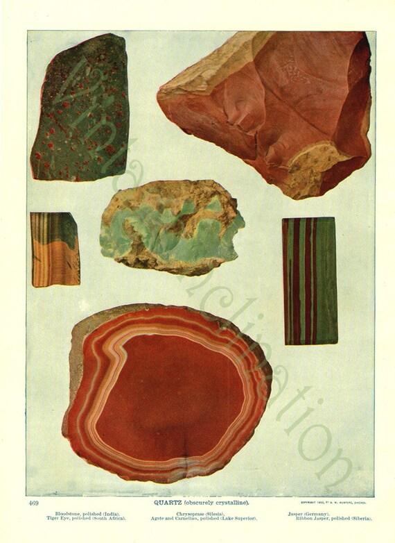 Vintage ANTIQUE 1903 Print Rocks and Minerals, QUARTZ agate bloodstone tiger eye carnelian jasper crystals