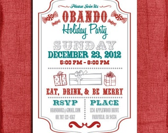 Holiday/Christmas Retro Party  Invitation- 4x6 or 5x7 Invitation-Print at home
