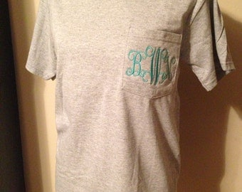 Monogram Pocket tees , customize your colors