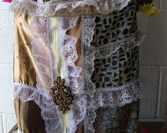 silk and lace freeform tote/purse