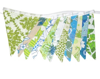 Vintage Retro Pretty Floral Blue / Green, Flag Bunting.  HANDMADE . Wall hanging, Parties, Party, Wedding etc .  Made in Australia