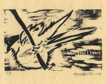 Woodcut Print of Sparrow on a Branch