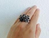 Black Beaded Dangle Ring