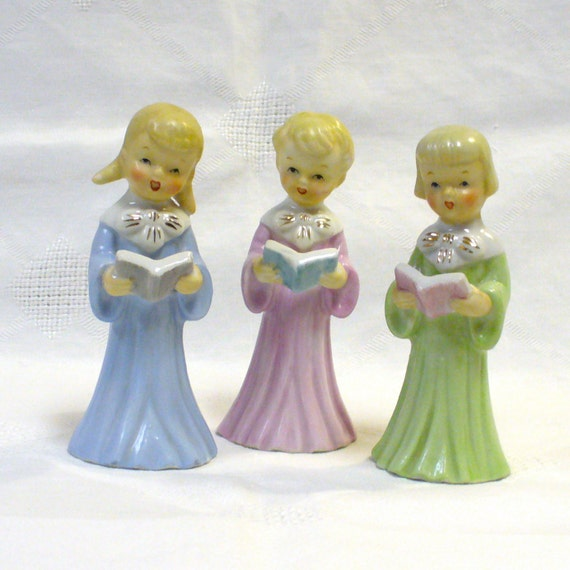 Vintage Ceramic Christmas Carolers Choir Boy And Girl: Vintage Christmas Set Of Three Carolers Choir By