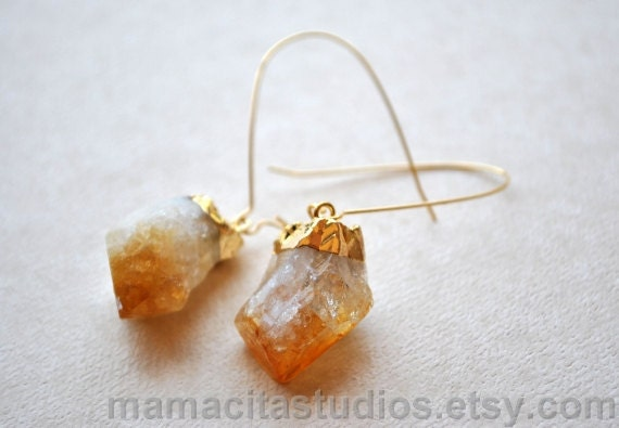 Citrine Earrings, Citrine Jewelry, Citrine Crystal Gold Earrings