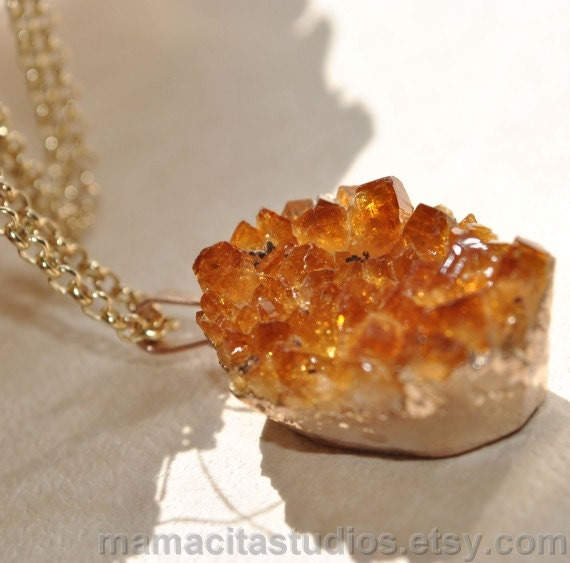 Citrine Druzy Quartz Gold Necklace - Summer Sale