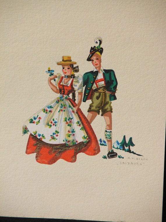 Original Prints of Bavarian Clothing Styles by Maria Braun