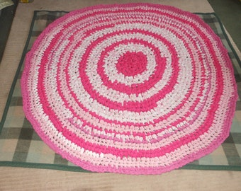 Melmac Pink and White Round Crochet Upcycled Rag Rug named Think Pink