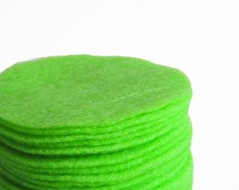 """30 pcs, 3"""" Neon Green Felt Circles"""