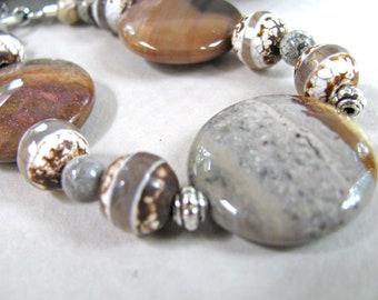 Earthy colors, Thunder Agate and Tibetan Agate beaded bracelet - chunky bracelet, handmade, gemstones 256
