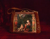 "Vintage   handbag  1940's brown leather reserved ""SAMSON ET DALILA""  unique piece french vintage purse"