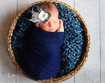 Newborn Blanket Prop- BLUEBERRY lush wrap - Newborn Photo Prop- Blanket / Basket Stuffer - knitbysarah - Stitches by Sarah