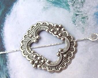 Silver Shawl Pin, Silver Scarf Pin, Silver Hair Slide, frame shawl pin, victorian, oxidized, hat pin, fall fashion, ornate scarf pin, square