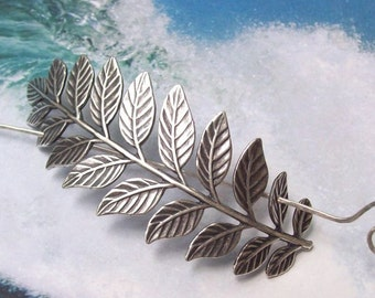 Silver Branch Shawl Pin, Leaf Scarf Pin, silver shawl pin, hair slide, oxidized, fall fashion, silver sweater pin, antique design