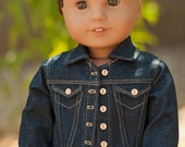 Doll Clothes: Denim Jacket with Gold Topstitching for an American Girl Doll or other 18 Inch Dolls