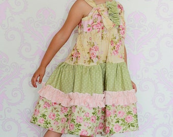 Aubrey's Tiered Ruffled knot Dress PDF Pattern size 6 months to size 8