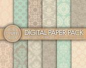 Light Brown Green Pink Beige Damask Set Digital Paper for Personal or Commercial Use - 12 Sheets - 300 DPI - 12325
