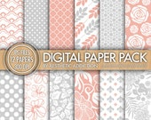 Gray Pink White Damask Floral Digital Paper for Personal or Commercial Use - 12 Sheets - 300 DPI - 12304