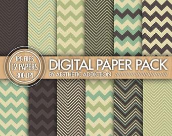 Chevron Digital Paper Pack // Gray Blue Green Beige // Chevron Zig Zag Lines // Commercial Use // 12407