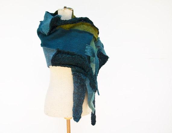 Hand knited shawl, scarf in green, teal, asymmetrical unique OOAK,soft wool felt, geometrical fashion accesoryTiffany Blue