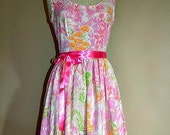 RESERVED for Julia Tea dress pink and orange Size 10