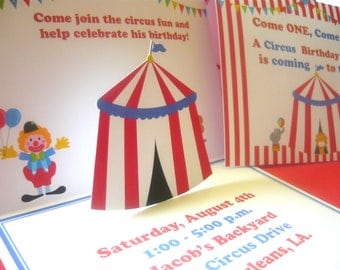 Circus invitation, carnival invitations, circus invites, pop up circus invitation, red top invitations, circus birthday invites, circus tags